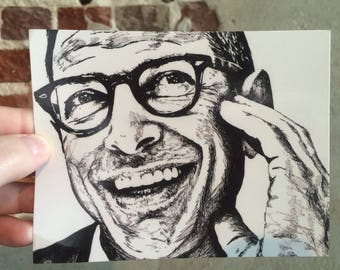 Jeff Goldblum Postcard  // The Fly  // Jurassic Park  // Jeff Goldblum Portrait  // Jeff Goldblum Card // Jurassic Park Card / Goldblum Gift