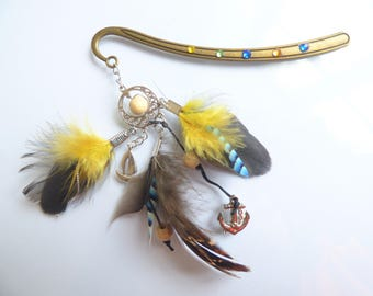 Bookmark in yellow and blue - natural feathers - Bobby - pampering gift birthday Christmas, home school - peak bun