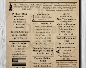 """60th Birthday NEWSPAPER Poster, 1958 Facts 16x20"""", 8x10"""" INSTANT DOWNLOAD"""