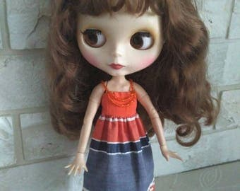 Blythe clothes Orange and blue sundress for Blythe.