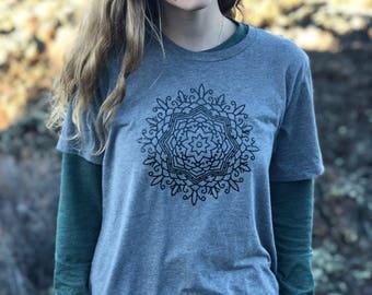 Cool T-shirt for Women - Gift for Women - Summer Shirt - Fall Shirt - Mandala Shirt - Mandala- Yoga Shirt- Yoga Gift