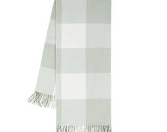 Buffalo Check Throw, Seaglass (Monogrammed)