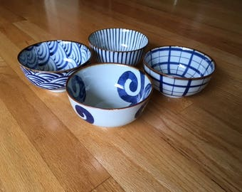 Vintage Mid Century Modern Japan made porcelain navy/white bowls with bold designs
