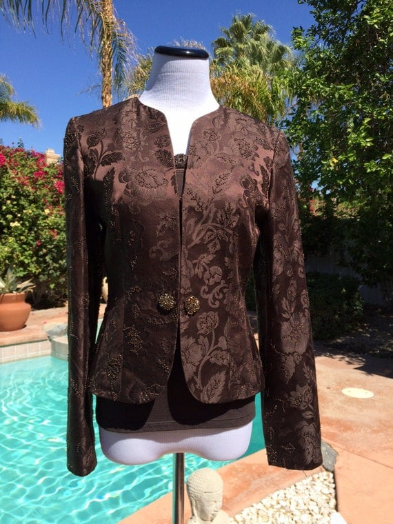 Beautiful Ann Taylor Loft,2 Piece Jacket and Top,Beaded,Diamanate Buttons,Size 2