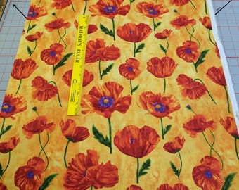 Artisan Spirit Poppy Passion-Orange with Flowers Cotton Fabric by Elaine Quehl from Northcott Studios