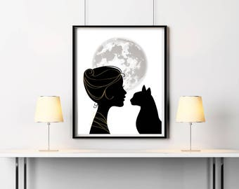 Printable art Cat wall decor Charming woman with cat Housewarming gift Animal print Cat lovers art Black cat poster Moon phases wall decor
