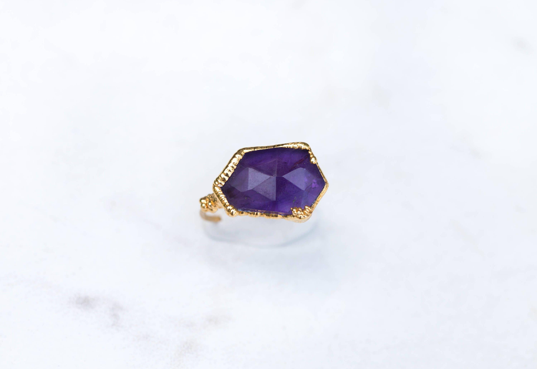 Edgy Amethyst Ring February Birthstone Stacking Gemstones