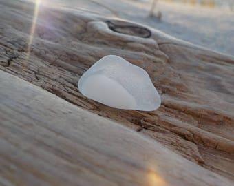 """Rare frosted Genuine Thick Sea Glass piece -Size 0.7""""-Two tone white on milk white sea glass multi colored-Glass Home Decor-#J256#"""