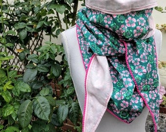 Headscarf triangle cotton, liberty, flowers, green, pink and tassels