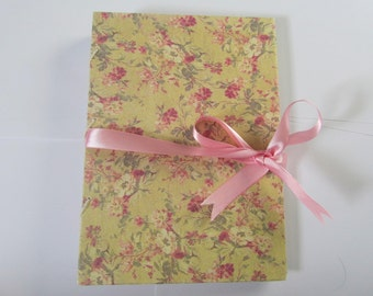 Handmade Journal with French Link Stitch and Satin Ribbon - Handmade