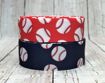 """7/8"""" Baseball Sports Back to School Team Game Ball Red Blue Grosgrain Hair Bow Ribbon - Sold by 5 Yards"""