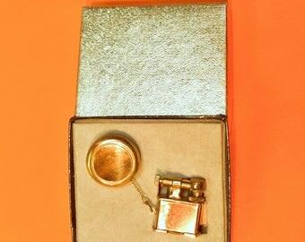 Vintage Golden Wheel Lighter - Lift Arm - Fob - USA