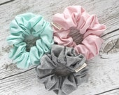 Scrunchie, hair tie, bridesmaid gift, mother's day gift, elastic, hair accessories, pink, red, navy, velvet, grey, soft, hair, hair jewelry