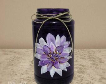 Purple Color Glass Vase Catananche Purple Flower