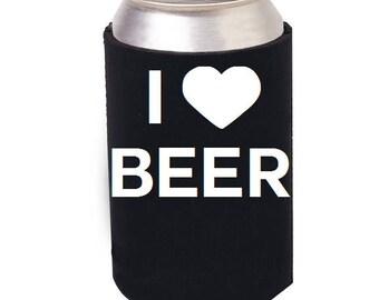 I Love Beer, I Love Beer can cozie, I Love Beer can cooler, craft beer, beer mug, beer stein, beer glass, beer, beer gift, can cooler, cozie