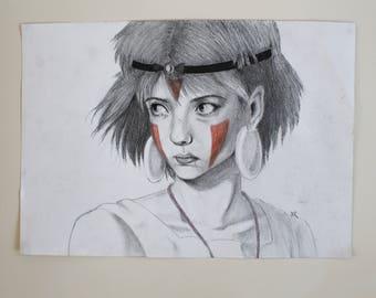 Mononoke Princess Traditional Drawing