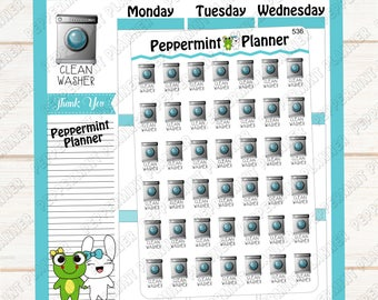 Clean Washer & Dryer --- Planner Stickers --- 536