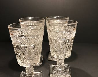 Vintage Imperial Glass, Cape Cod Clear Water Goblets Set of 4