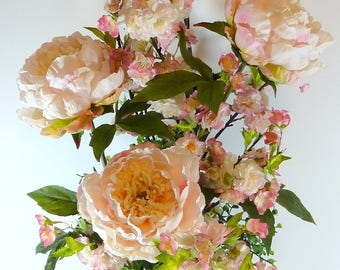 """Elegant Pale Pink Peonies and Cherry Blossoms in Tall Jeweled White Vase, 38"""" Touchable Dramatic Artificial Flower Arrangement Looks REAL"""