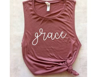 grace pink workout tank, Christian tank, women's workout tank, muscle tee, yoga tank, gym tank, Christian shirt, barre tank, running tank