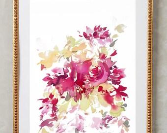 "Original 12"" x 16"", peony painting, watercolor, peony art, floral painting, abstract floral painting, floral print, floral art, wall art"
