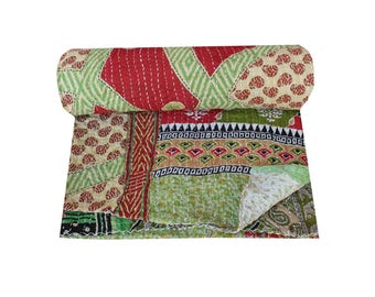 Queen Size Vintage Kantha Quilt Multi Colorful Sari Patchwork Kantha Blanket Indian Cotton Kantha Bedspread Floral Reversible Kantha Throw