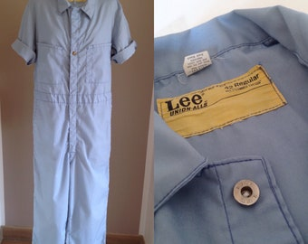 60s Lee Union-Alls Baby Blue Coveralls Work Chore Smock 42R, Coverall Short Sleeve Cotton, Lee Overalls Jumpsuit Utility Ceramist Artist M