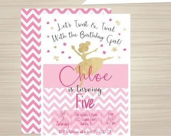 Printable Ballerina Invitation, Ballerina Invitation, Ballerina Birthday, Pink and Gold, Ballet, Girl's Birthday, 5x7