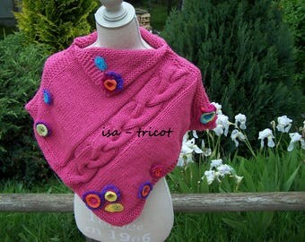 very ornate hand knitted pink shoulder warmer or poncho
