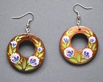 Brown wooden jewelry Brown wooden earrings wooden jewellery painted earrings wood painting earings wood folk natural earrings wooden painted