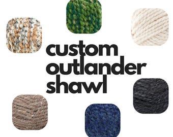 Custom Outlander Knit Wool Shawl, Sassenach, Custom Hand Knit Scarf, Outlander Inspired, Je Suis Prest, Claire Fraser, Outlander Cowl