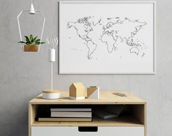 World Map Outline Etsy - Global map outline