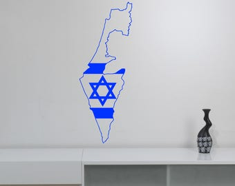 Israel Map Wall Decal Star of David Vinyl Sticker National Symbol Jewish Art Country Holy Land Decorations for Home Room Bedroom Decor ds1