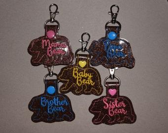 BUILD YOUR OWN! Mama Bear, Papa Bear, Sister Bear, Brother Bear, Baby Bear Keychain Set