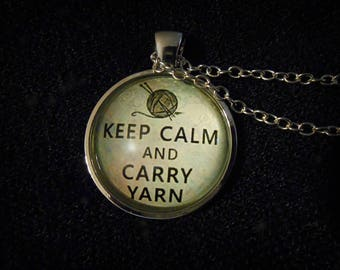"Keep Calm & Carry Yarn Pendant Necklace - 24"" Chain - Cute All Occasion Gift for a Knitter or Anyone Who Loves Crochet and Other Yarn Crafts"
