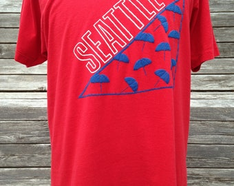 Vintage 80s Seattle Washington umbrellas T Shirt - Large - soft & thin - tourist Seattle WA - Puget Sound - Pacific Northwest