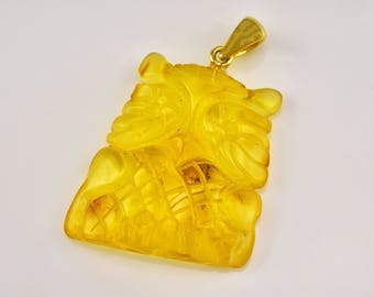 Owl Pendant, Amber Owl, Hand Carved Owl, Amulet Owl, Owl Statuette, Owl Figurine, Baltic Amber Jewellry, Gold Plated Pendant,