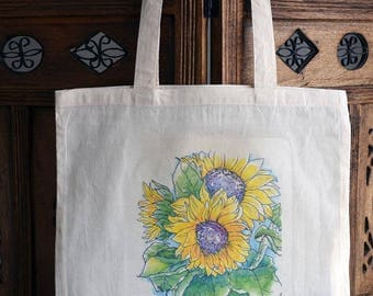 Sunflowers Tote Bag, Cotton Market Bag, Hand Printed