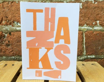 Handprinted Letterpress 'Thanks' Card
