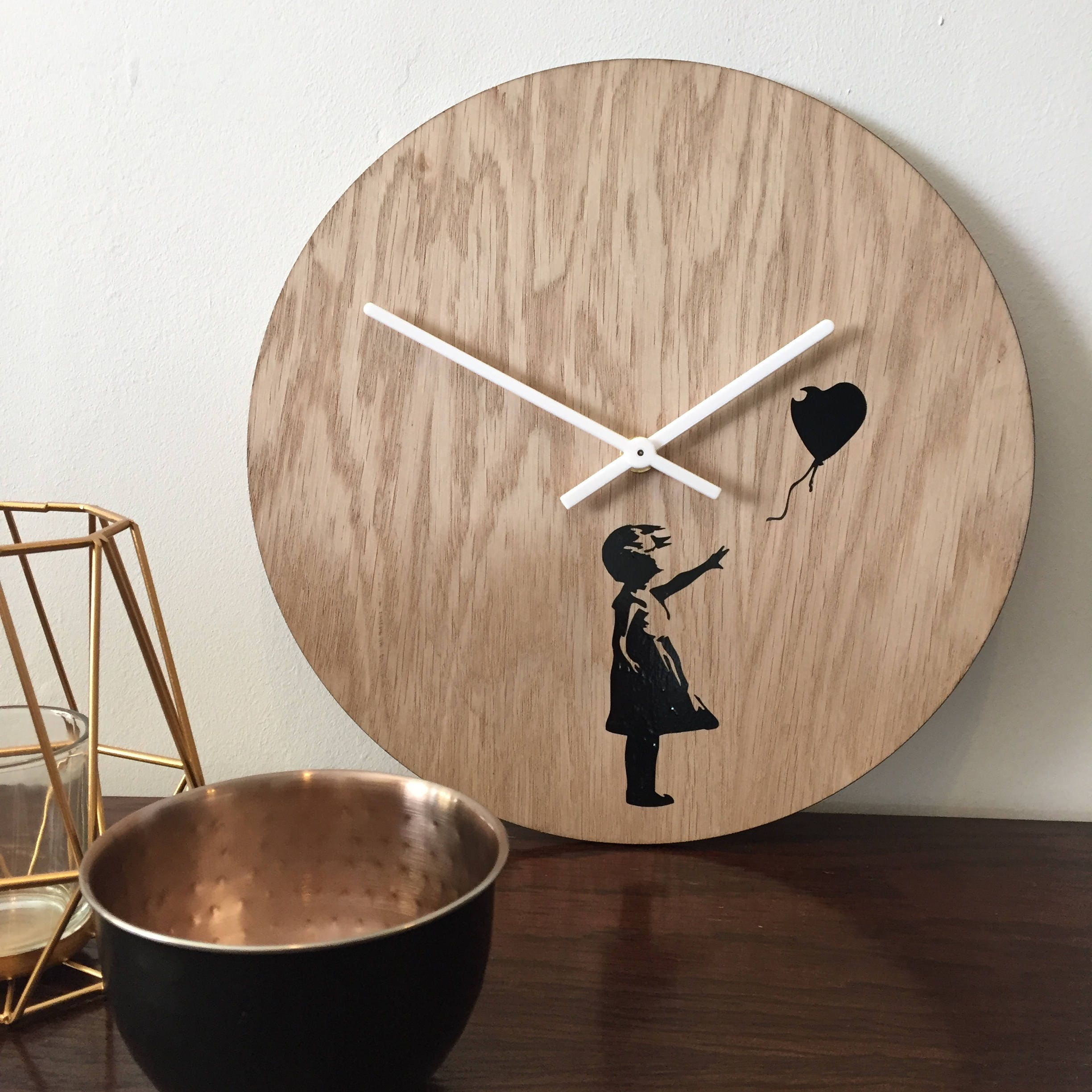 Banksy wooden wall clock wall art clocks by elablo quirky description banksy wall clock amipublicfo Image collections