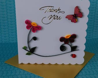Quilled Thank You Card. Quilled Card. Blank Card. Thank You Card.