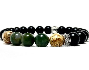 Men's Onyx and Jade Tibetan Bracelet