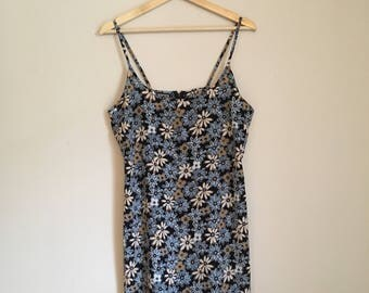 Daisy floral summer dress, 90s, mini dress, grunge, strappy dress, M, *vintage*