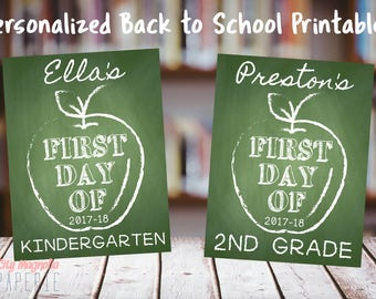 First Day of School Chalkboard Printable, Green, Apple, Last Day of School, Personalized, digital printable