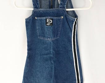 Vintage 90s Sporty Retro Tomboy Denim Jumper Dress/ 90s Dress /Toddler Girl Size 4T