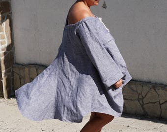 Loose Fit Linen Dress, Off shoulder Extra Loose Boho Dress, Flare Smocked Dress, Short Maxi Dress, Rope Neck Long Sleeve Dress Tunic