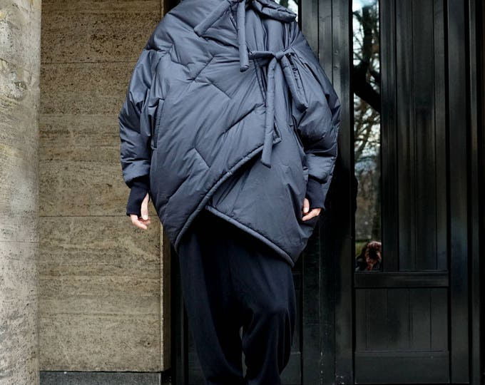 Winter Extra Padded Coat Parka, Oversized Asymmetrical Parka, Waterproof Windproof Strapped Hooded Coat Parka, Puffer Coat