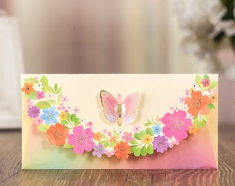 6 Pastel Colored Cherry Blossom Butterfly Laser Cut Money Envelopes