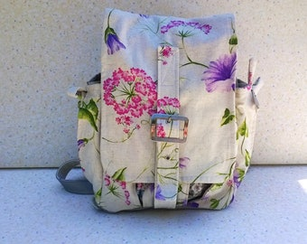"Backpack, ""Shabby chic and spring"", leather silver gray and cotton floral print! Size medium"