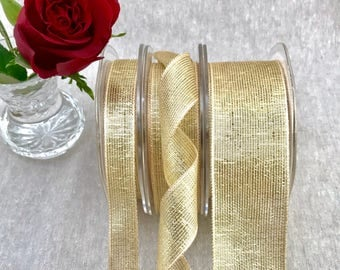 """Champagne Gold Wired Ribbon - Metallic Mesh Lame - 1 1/2""""  1""""  5/8"""" in 1m 3m 5m - Floral Bouquets - Wedding - Invitations - Christmas Ribbon"""